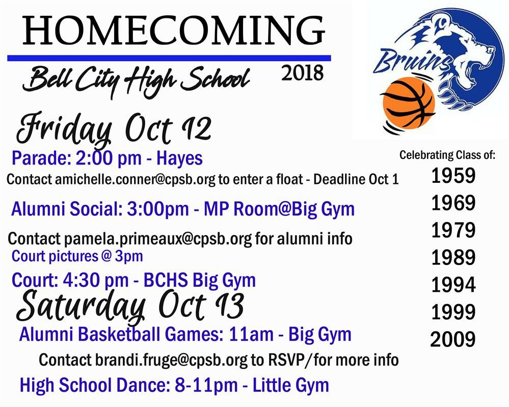 Homecoming Info - Oct 12, 2018