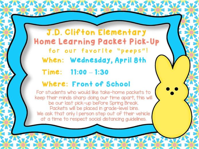 Home Learning Packet Pickup 4/8/2020