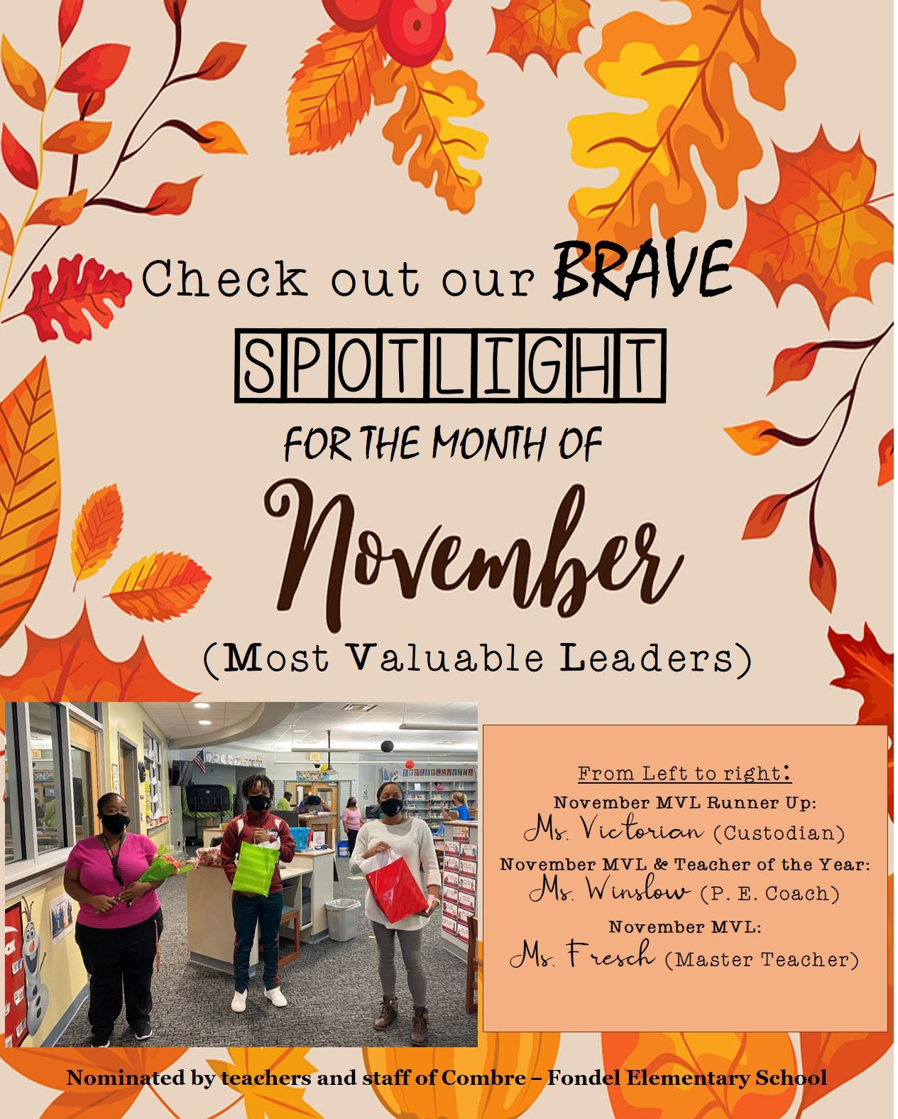 CONGRATULATIONS! November Most Valuable Leaders