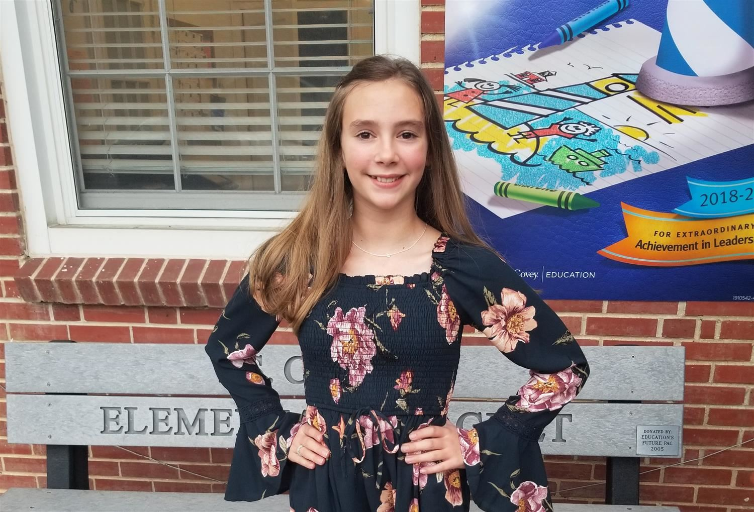 Congratulations Brenna - T.S. Cooley Elementary Magnet School Student of the Year