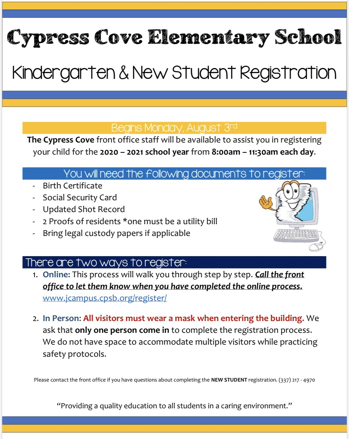 Kindergarten & New Student Registration