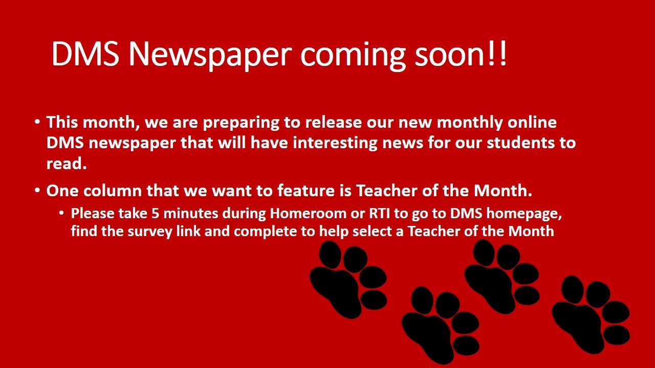 DMs Newspaper Coming Soon