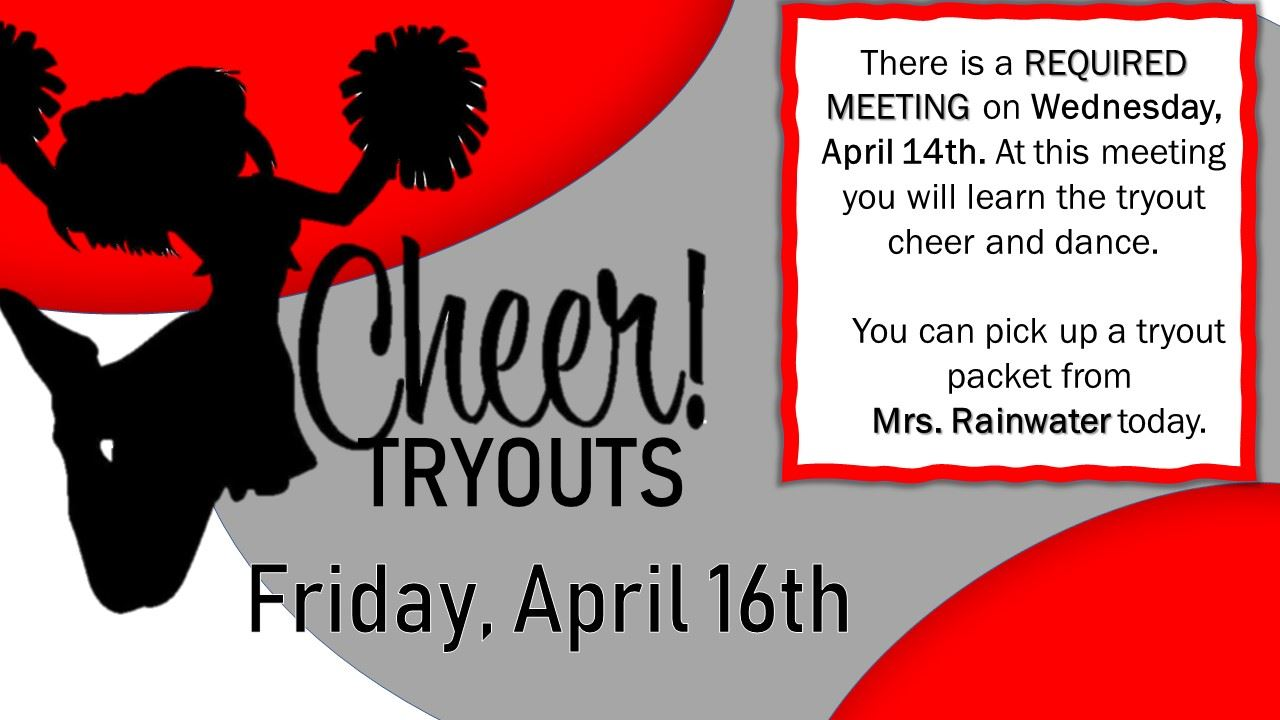 DMS Cheer Tryouts - April 16th
