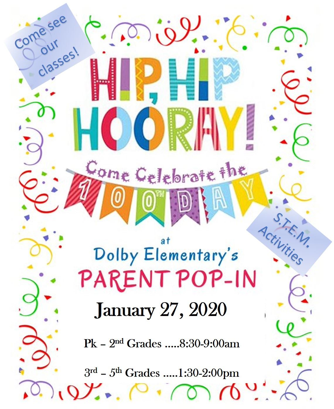 100th Day Parent Pop-In