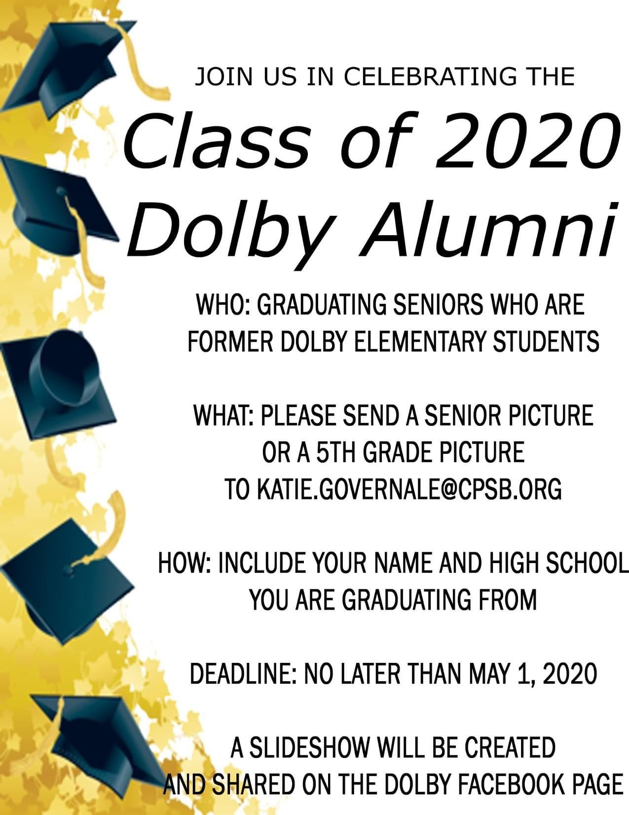 Attention Dolby Alumni! We are looking for our 2020 Graduates!