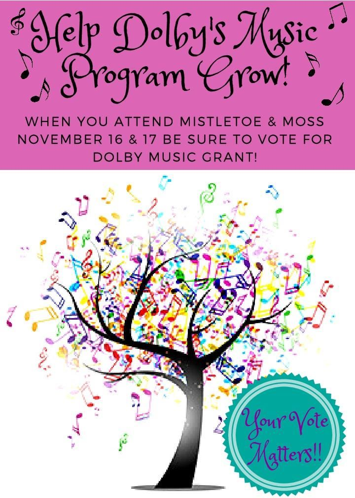 Dolby has TWO finalists in the Junior League Grant Contest! Please stop by to vote for one of our grants at Mistletoe and Moss on November 17 & 18!
