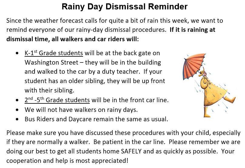 Rainy Day Dismissal Reminders