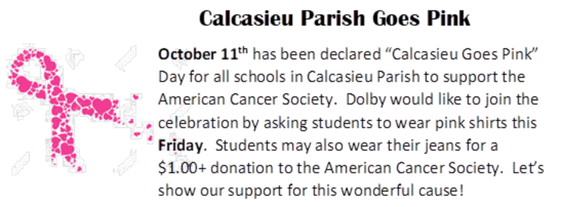 Calcasieu (& Dolby) Goes Pink!