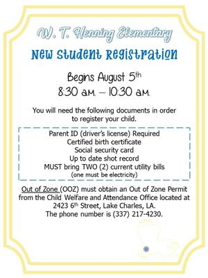 New Student Registration begins August 5th
