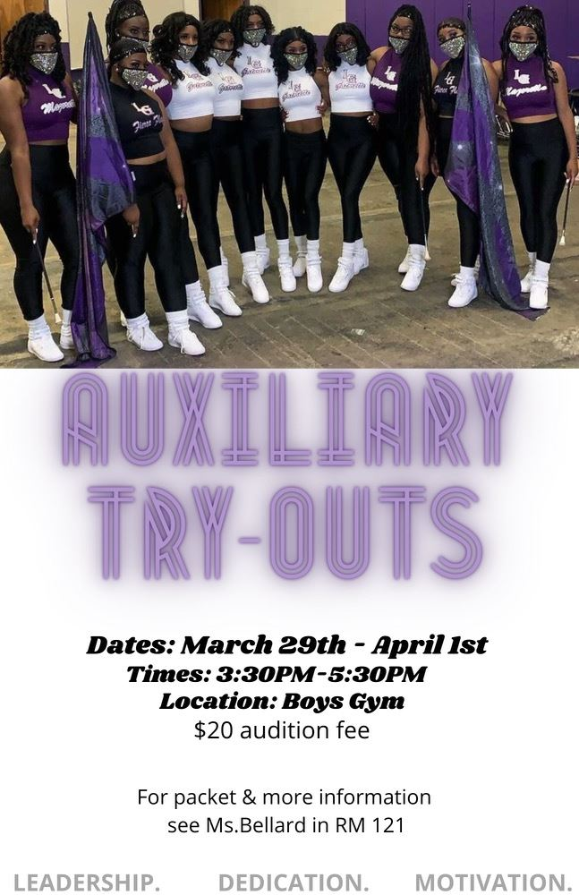 Auxiliary Tryout: Calling all young ladies in grades 8th - 11th