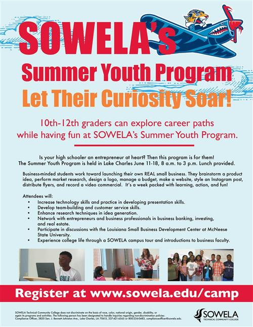 Sowela Summer Program: Calling 10th - 12th grades