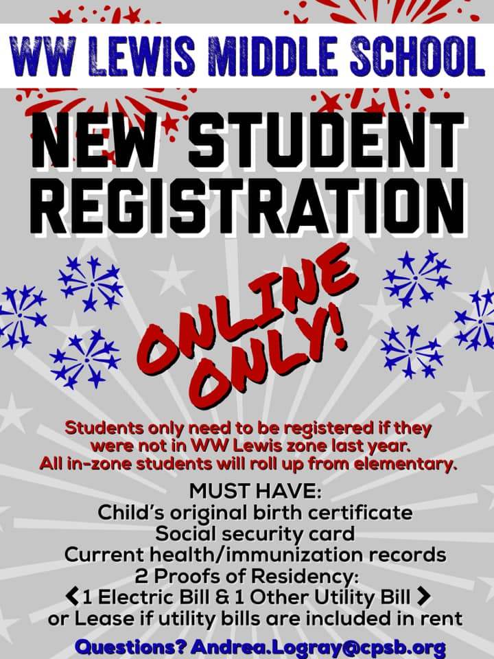 New Student Registration  Click link for larger view