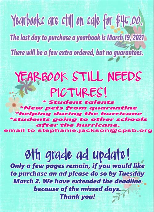 Yearbook Info Click here for larger image