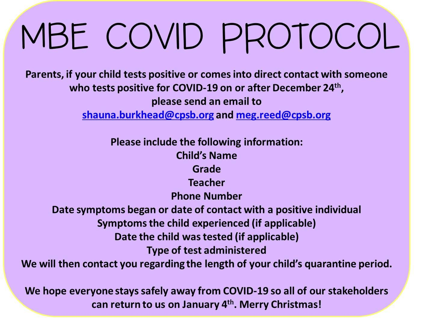 MBE COVID PROTOCOL