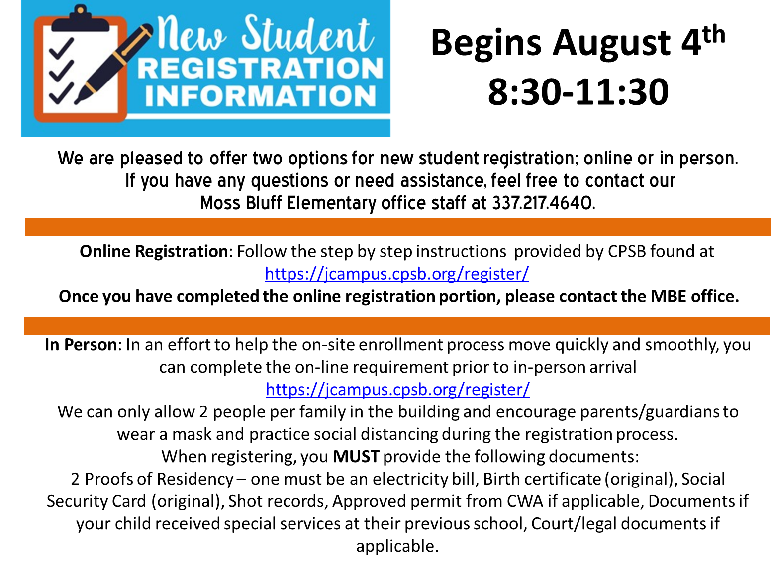 "Kindergarten and New Student Registration - Two registration options are available.  Please click ""Read Full Story"" for more details and a direct link to our online registration site."
