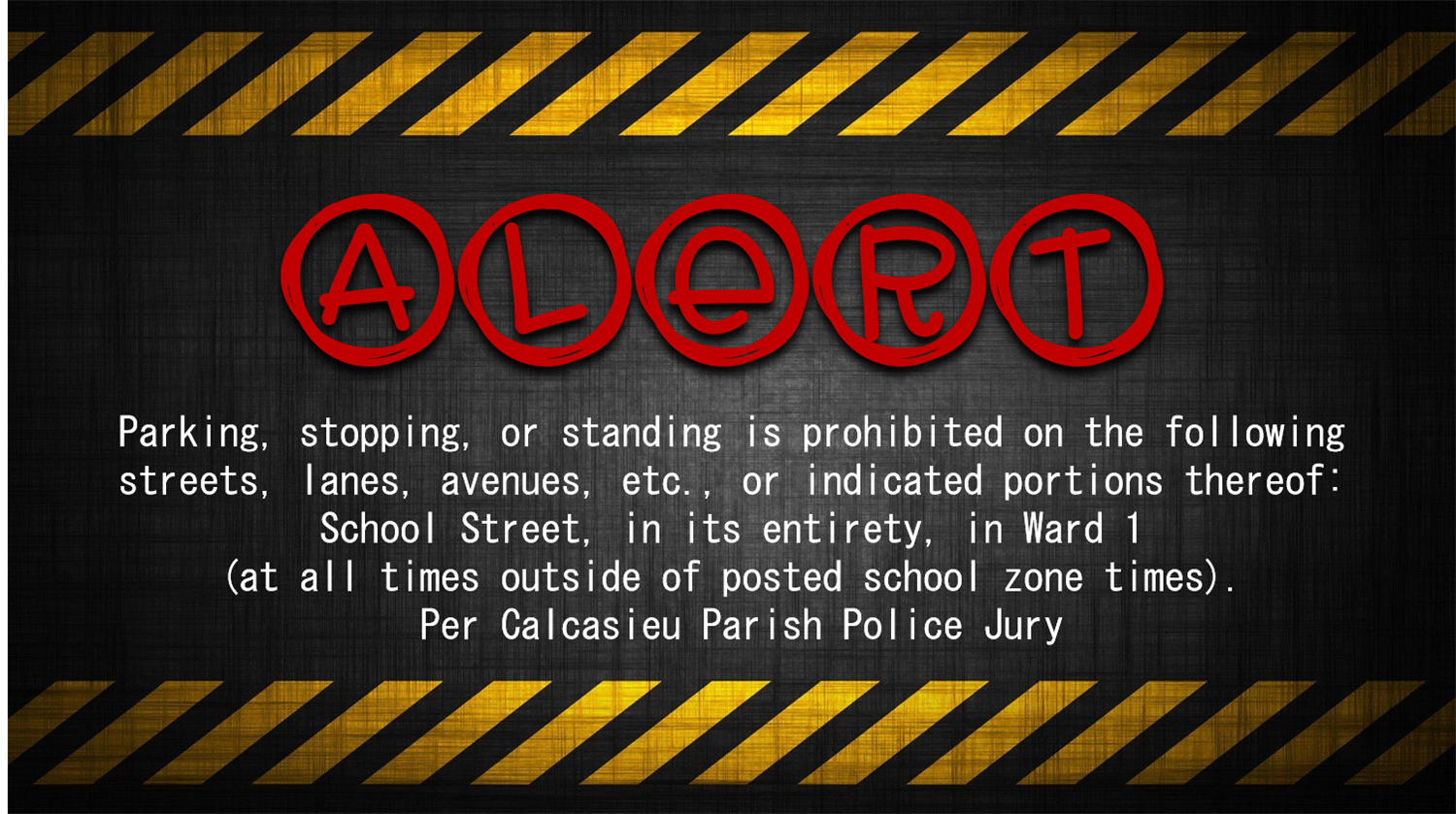 ALERT Please be advised of the ordinance from Calcasieu Parish Police Jury
