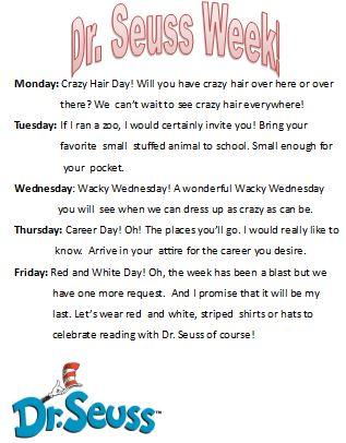 Dr. Seuss Week March 1st - March 5th