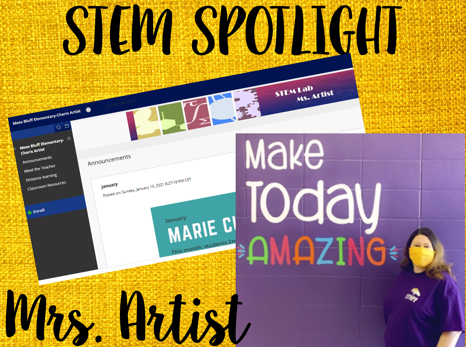 "STEM SPOTLIGHT - Please click ""Read Full Story"" to find out all of the wonderful things our amazing STEM teacher is doing with our students and a challenge for STEM at home!"