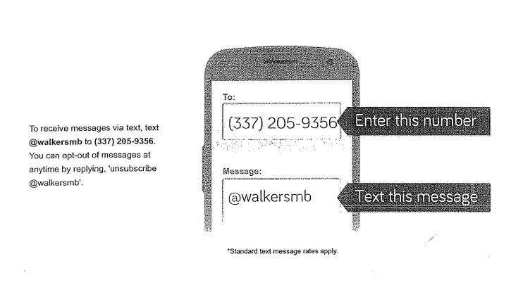 Parents, please text the code listed below to the number provided for text alerts and reminders!