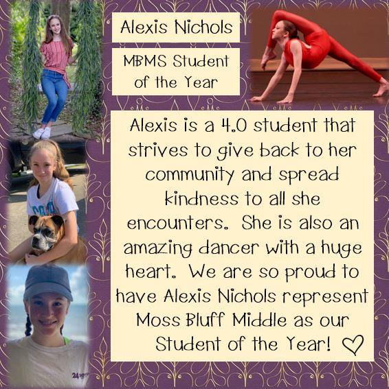 Alexis Nichols, MBMS Student of the Year!