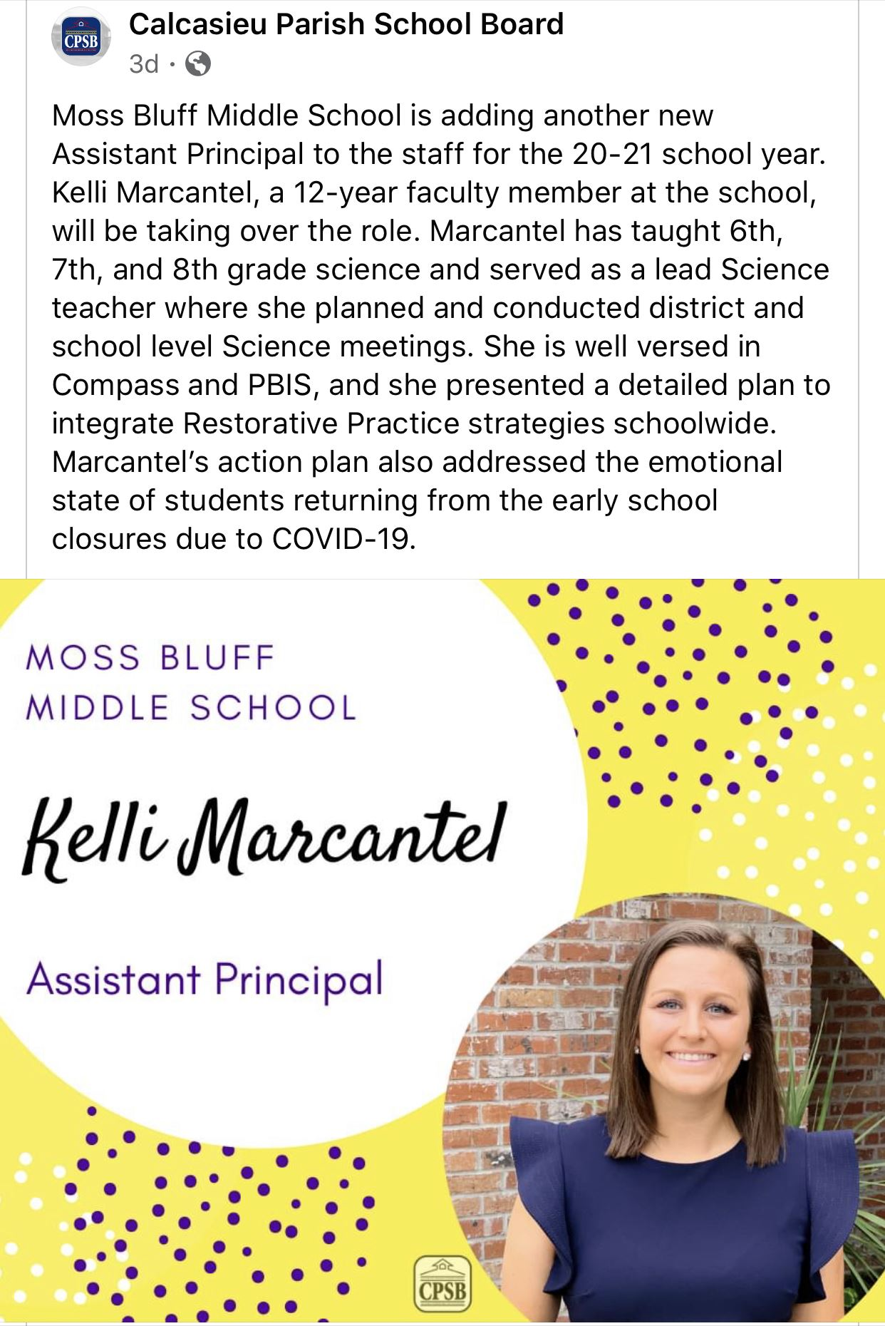 MBMS Assistant Principal, Mrs. Marcantel