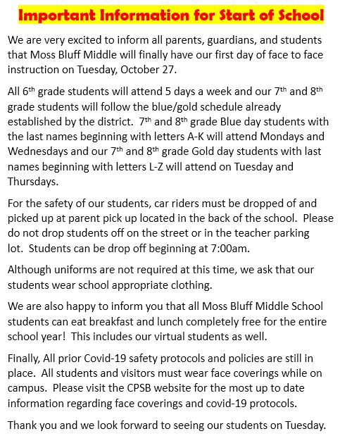 Important Information for Start of School