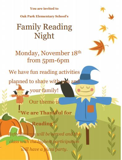 OPE Family Read Night 2019! Click here for the larger flyer.