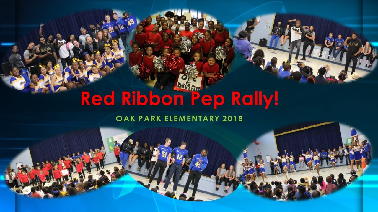 OPE Red Ribbon Week Pep Rally! Shout out to McNeese State University representatives of the Football Team, Alpha Phi Alpha Fraternity, Alpha Kappa Alpha Sorority, Girls Soccer, Girls Basketball, the OPMS Cheerleaders and Dancers and OPE Dancers.