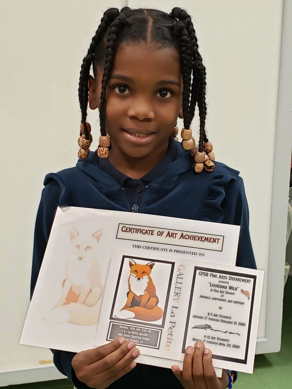 "Congradulations to Aubree W. for her award in the K-5 CPSB Fine Arts Contest ""Louisiana Wild"""