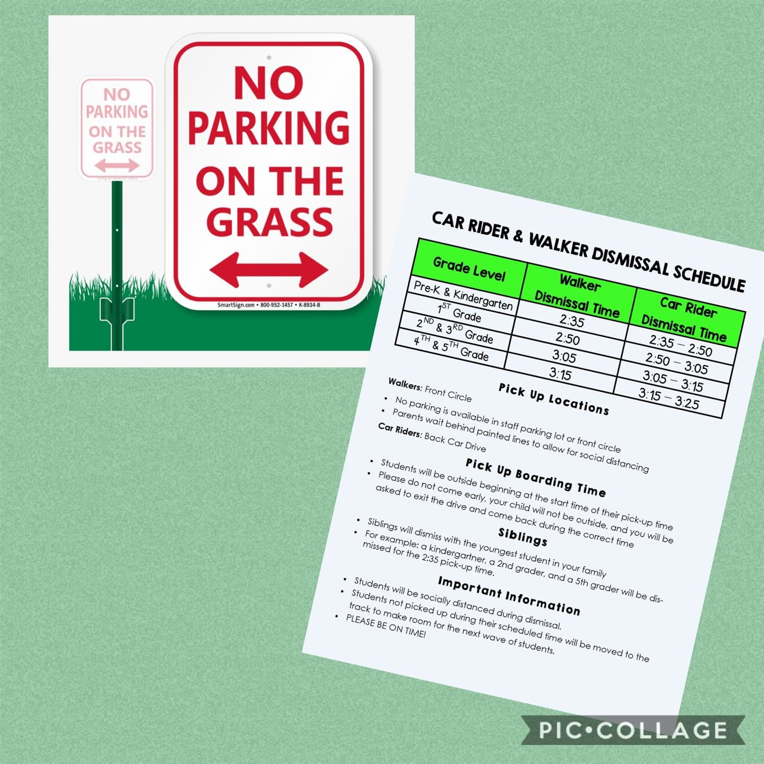 Do not park on the grass while waiting for your child's wave because it is affecting the flow of traffic allowed to enter the car drive from Nelson Road.   Please arrive during your child's assigned wave time.   Thank you for your continued cooperation!
