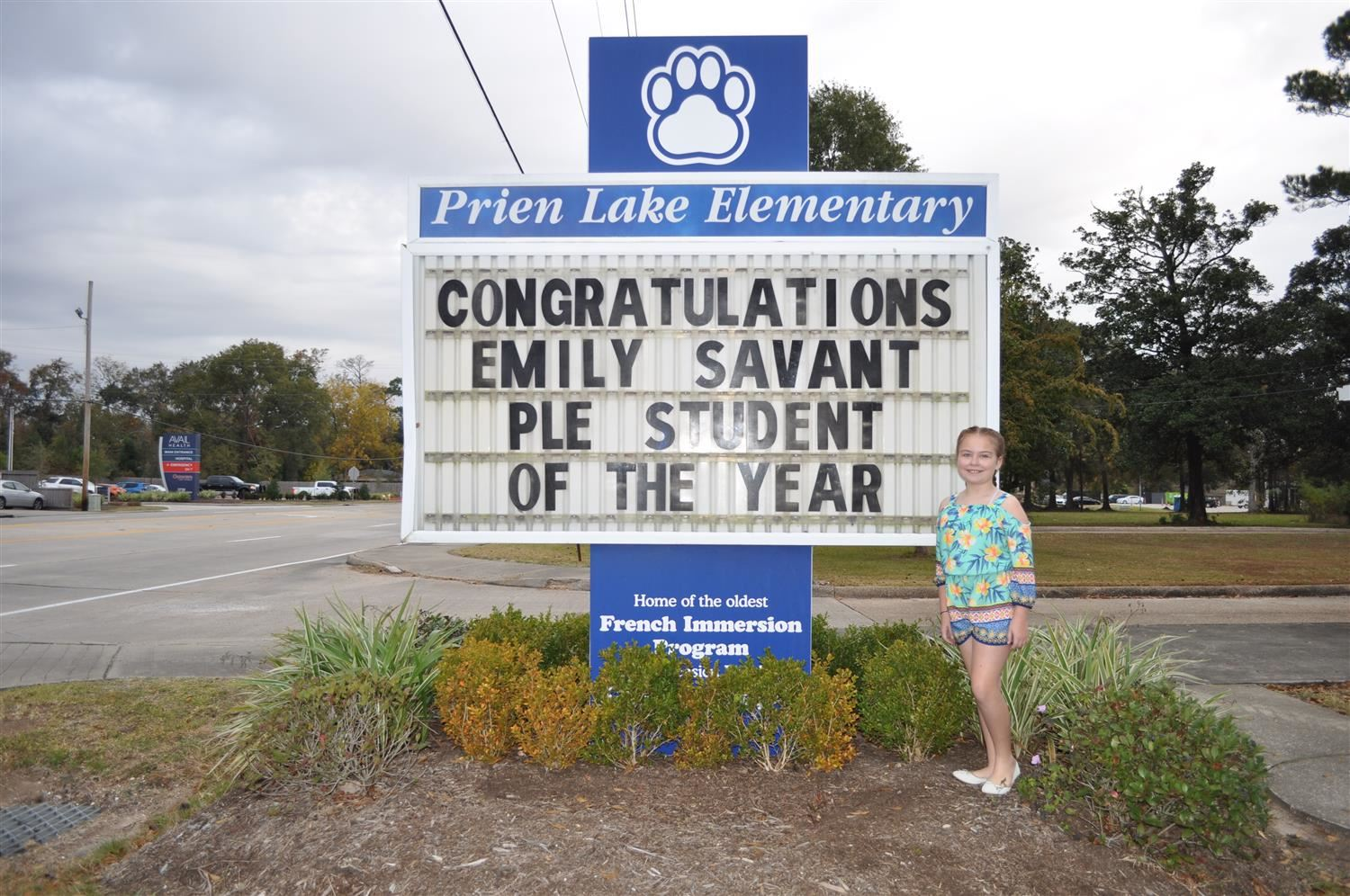 Congratulations, Emily S. for being named PLE Student of the Year! We are so proud of you!