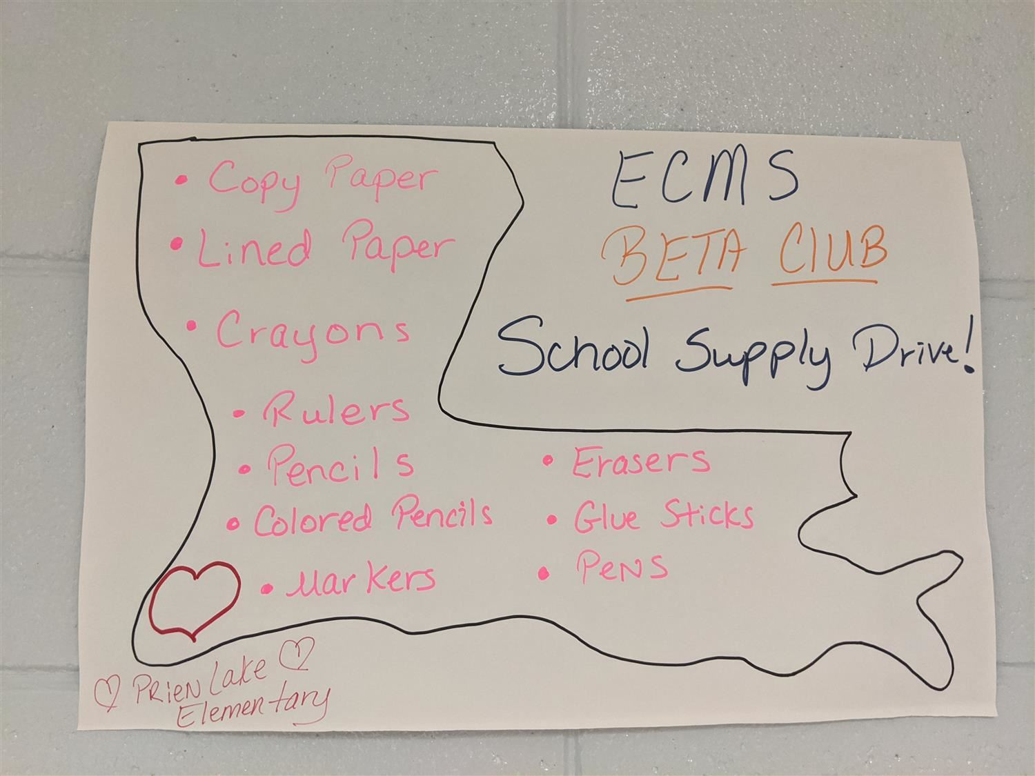 We would like to express our gratitude to Elbert County Middle School and their BETA Club for sponsoring a school supply drive for Prien Lake! We are so grateful for your donations and delivery!