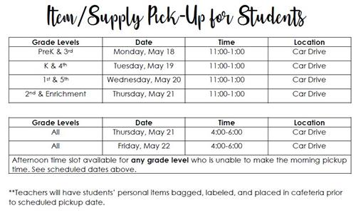 Item Pick-Up for Students