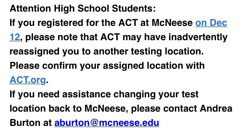 ACT at Mcneese