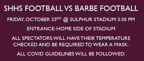 SHHS vs Barbe October 23rd