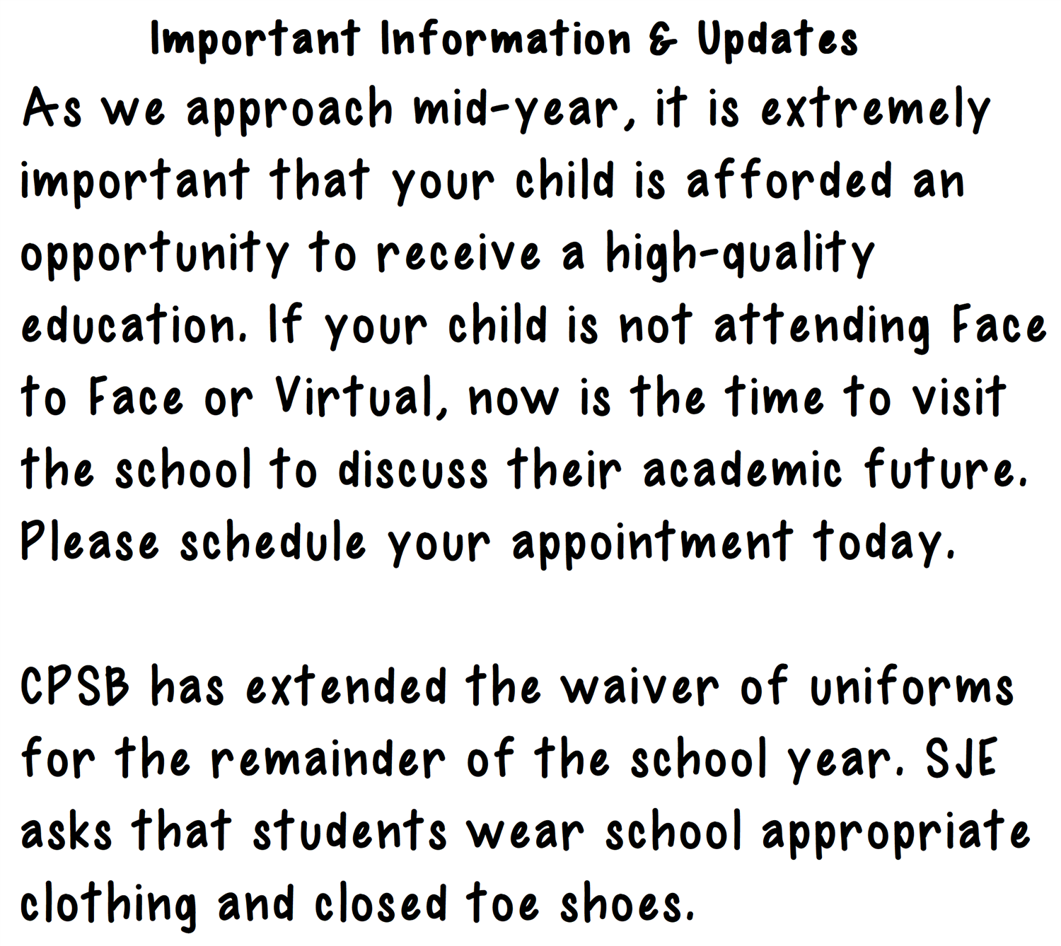 Important Information & Updates