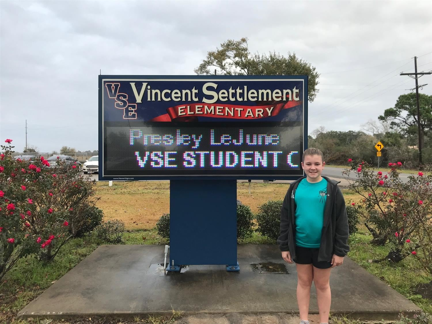 Congratulations to Presley!  VSE Student of the Year