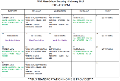 washington marion february after school tutoring schedule