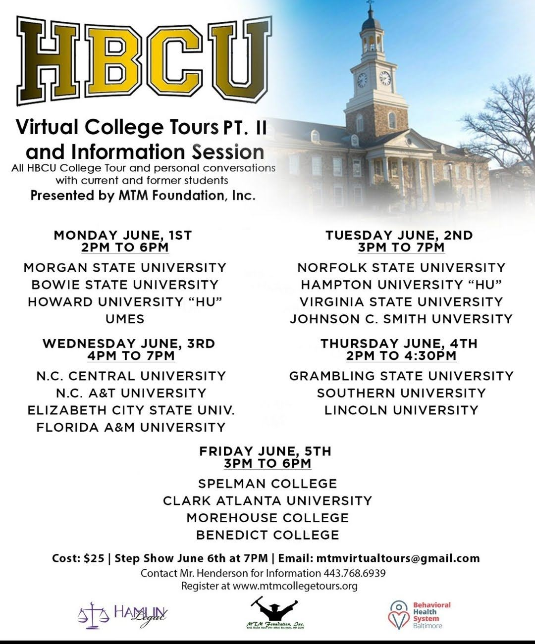 HBCU Virtual College Tour Part 2, June 1- June 6