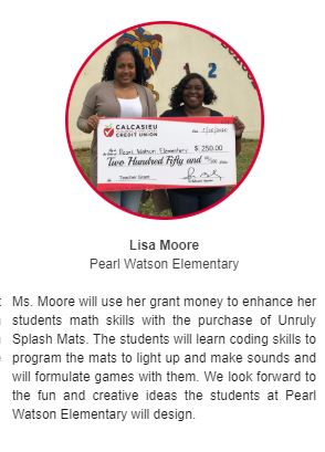 Grant Winner - Ms. Moore, 2nd Grade Teacher
