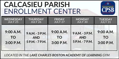 Calcasieu Parish Enrollment Center Schedule Announced