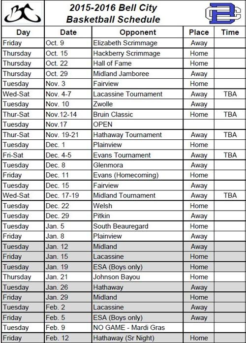 2015-2016 HS Basketball Schedule